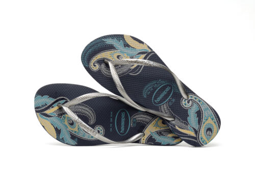 Silver Navy Silve Blue Slim Organic Thongs Slippers Nuovo Thong Havaianas qUP0YY