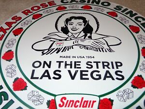 VINTAGE-1954-SINCLAIR-CASINO-LAS-VEGAS-11-3-4-034-PORCELAIN-METAL-GASOLINE-OIL-SIGN