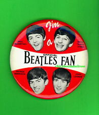 the Beatles 1964 OFFICIAL BEATLES FAN pinback button badge MINT Green Duck GG