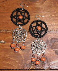 Earrings Dream Catcher Boho Hippie Tribal Festival Gypsy 2 Rustic Colours A1046