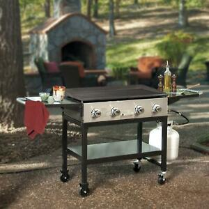 4 Burner Outdoor LP Gas Grill Griddle Top Portable Rolling ...