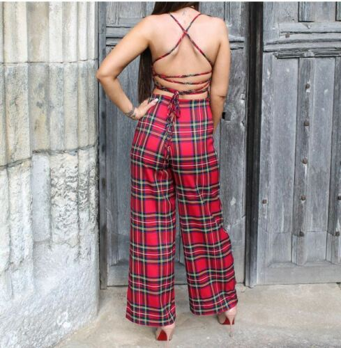 Red Tartan Check Printed Strappy Lace Up Back Sleeveless Square Neck Jumpsuit