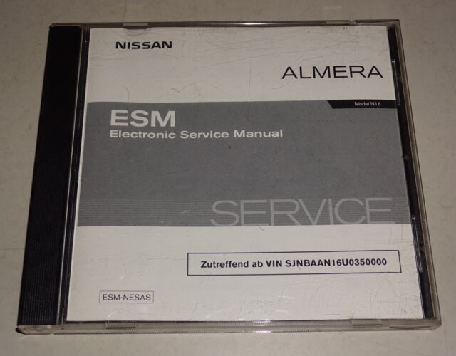Workshop Manual On Cd Nissan Almera Type N16 Stand 03  2003