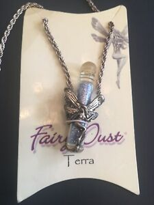 Fairy-Dust-Glass-Vial-Bottle-Pendant-Necklace-Terra-Fairy-Pewter-Chain-New-VTG