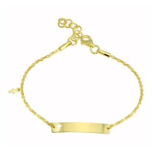 14K-YELLOW-GOLD-OVER-925-STERLING-SILVER-BABY-ID-BRACELET-W-CROSS-CHARM