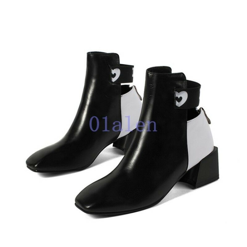 Womens Splice Mid Block Heel Ankle Ankle Ankle Boots Square Head Leather shoes Fashion Zip fc0ef5