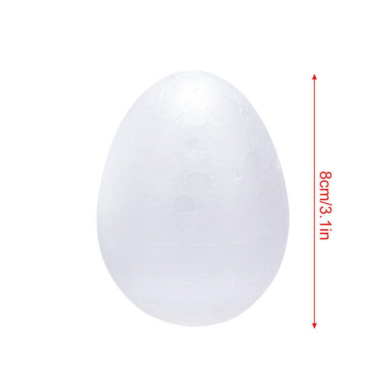 10White Modelling Styrofoam Foam Easter Eggs for DIY Kids Painting Craft 8cm