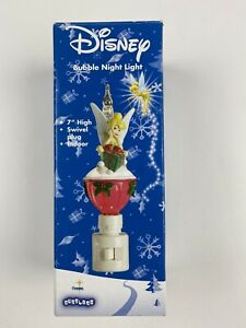 Disney-Bubble-Night-Light-Tinkerbell-Christmas-7-034-High-Glitter-Swivel-Plug