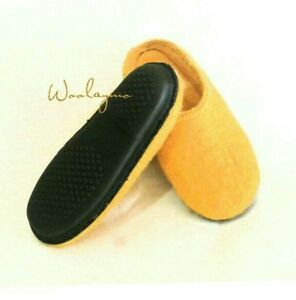 b5e45250ebf0e Details about Felt slippers with rubber sole Handmade Slippers Unisex Home  shoes Wool slippers