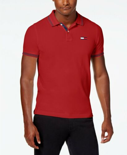$275 TOMMY HILFIGER Mens SLIM CUSTOM FIT RED BLUE SHORT SLEEVE LOGO POLO SHIRT L