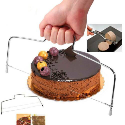 Double Line Adjustable Metal Cake Cutter Stainless Steel Cake Pastry Slicer Tool