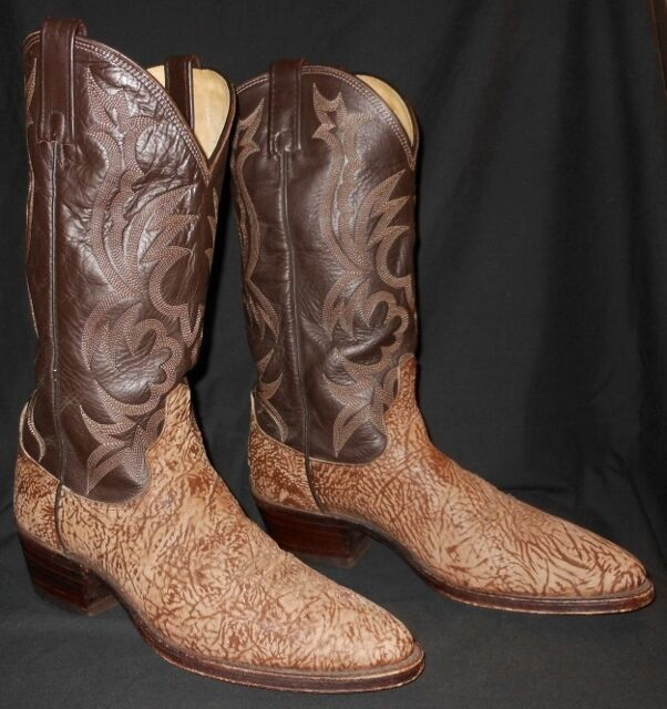 Vtg Cowboy Boots Dan Post Sueded Bull Shoulder Hide Tan Rodeo Sharp Men's 8.5 D