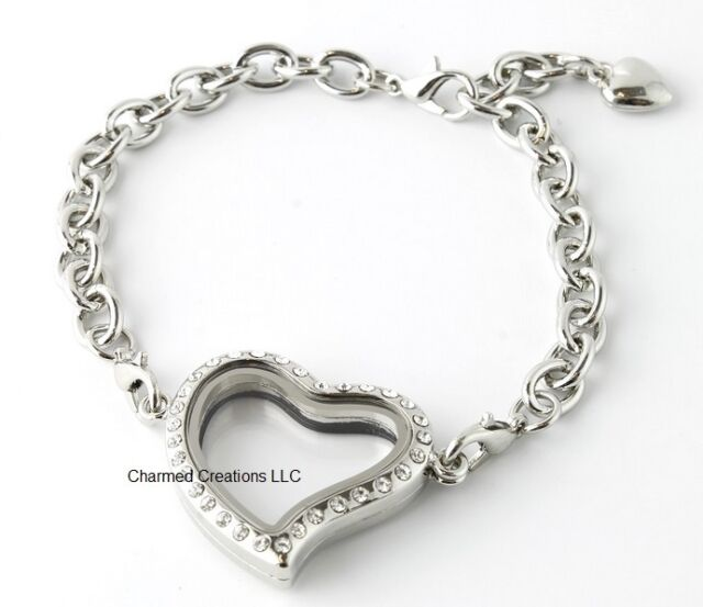 Security Clasp Crystal Silver Tone Heart Floating Charm Memory Locket Bracelet