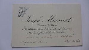 Carte De Visite Ancienne Mr Joseph MAISSIAT Homme