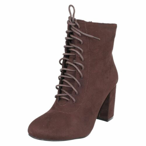 R11A Spot On Ladies Dark Brown Microfibre Ankle Boot F5R0854 Lace Up