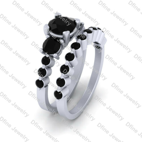 Details about  /1.80cttw Black Diamond 3 Stone Engagement Ring Set White Gold Promise Ring Set
