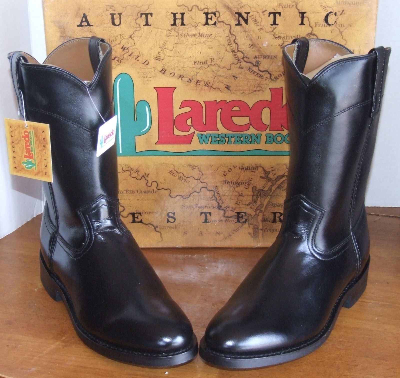 Laredo Black Leather 10  Saddle Roper Boots  12631