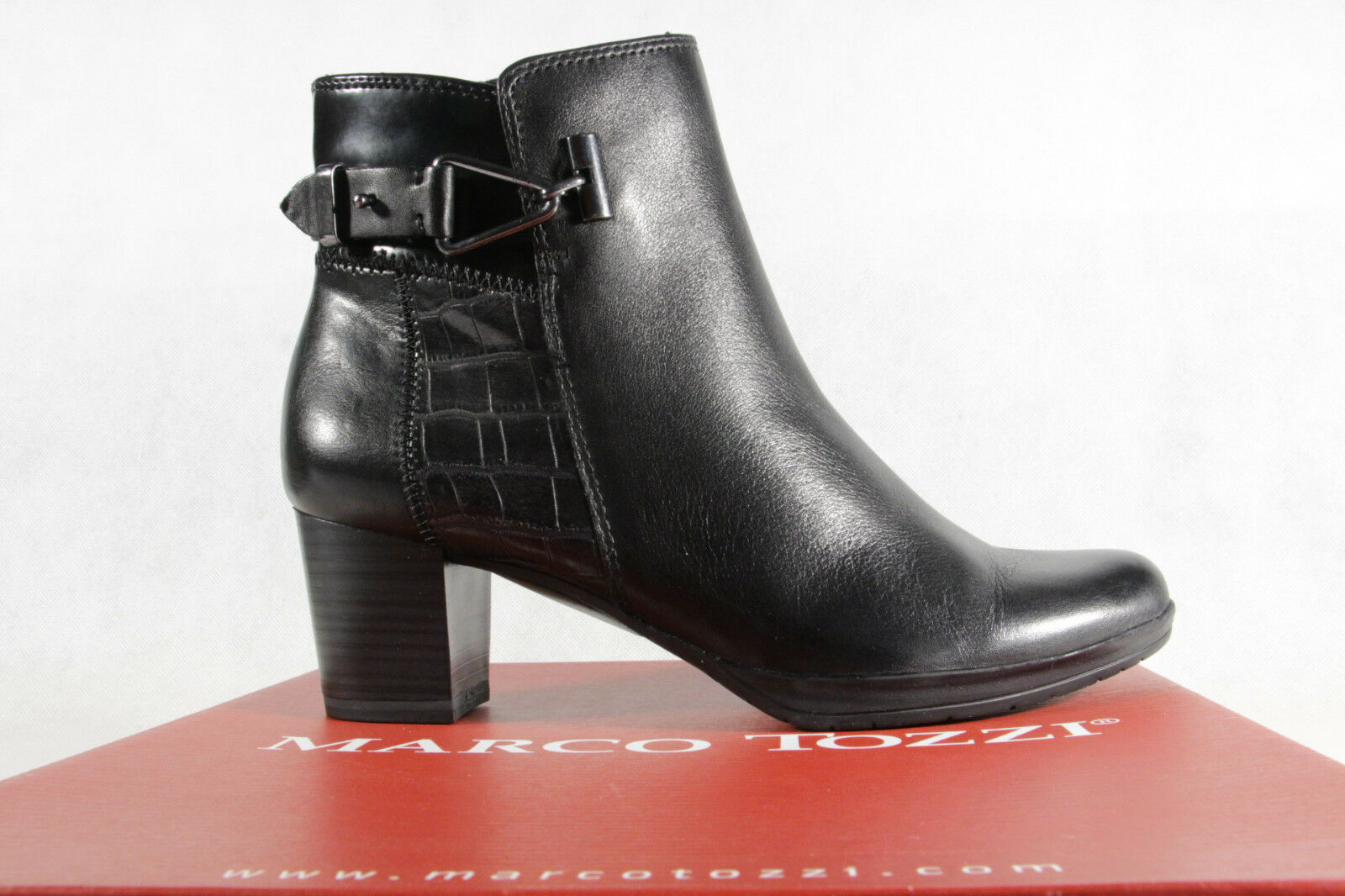 Marco Leder Tozzi Stiefelette Stiefel, schwarz, Leder Marco 25385  NEU 782cb9