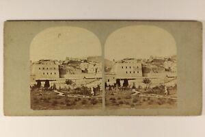 Ville-A-Identificare-Italia-O-Francia-Foto-Stereo-Vintage-Albumina-c1865