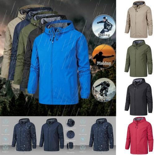 UK Mens Waterproof Jacket Coat Hooded Windproof Casual Raincoat Plain With Hood