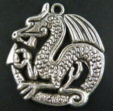 30pcs Tibetan Silver Round Dragon Charms Pendants 32.5x31x3mm 9118