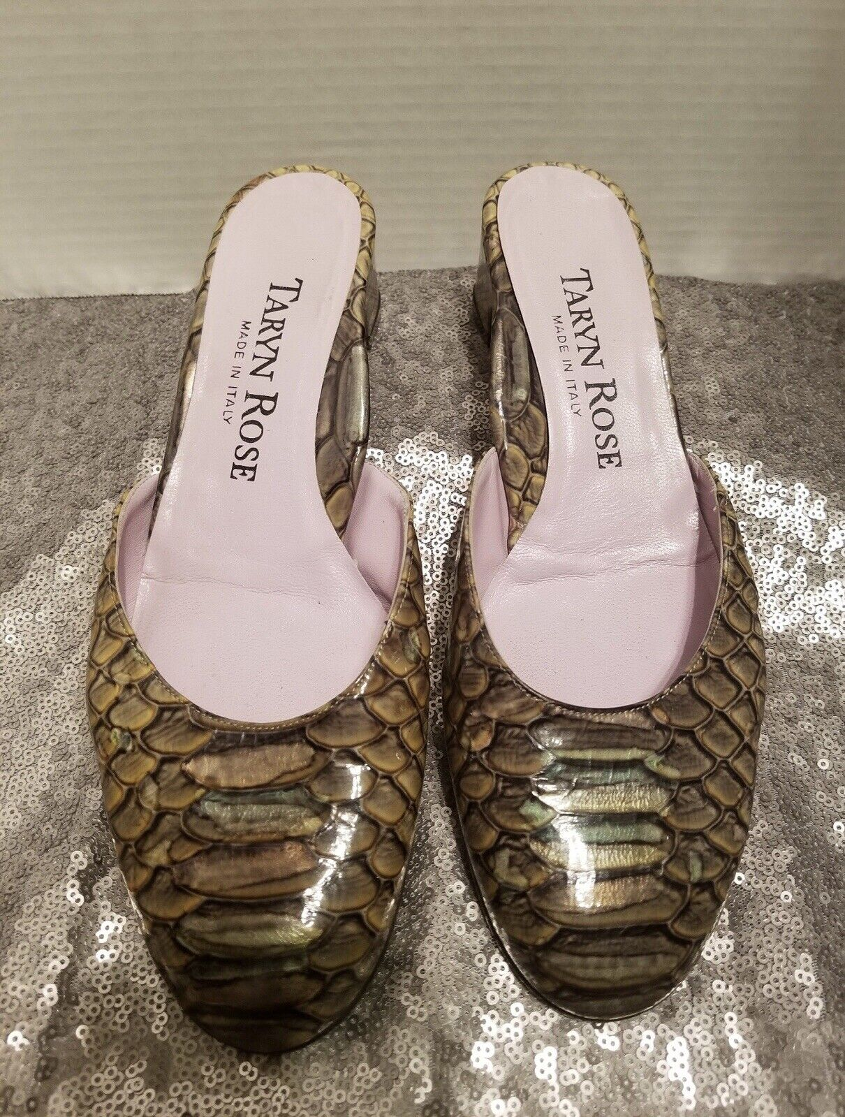 Pre-owned, Womans Taryn pink 7.5 Leather snake slide shoe Made In
