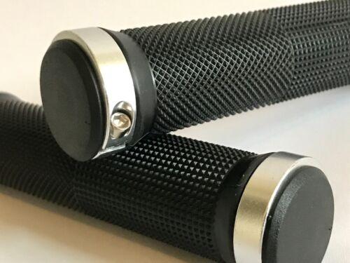 Locking ATV Handlebar Grips Billet Silver Black Suzuki King Quad 400 700 750
