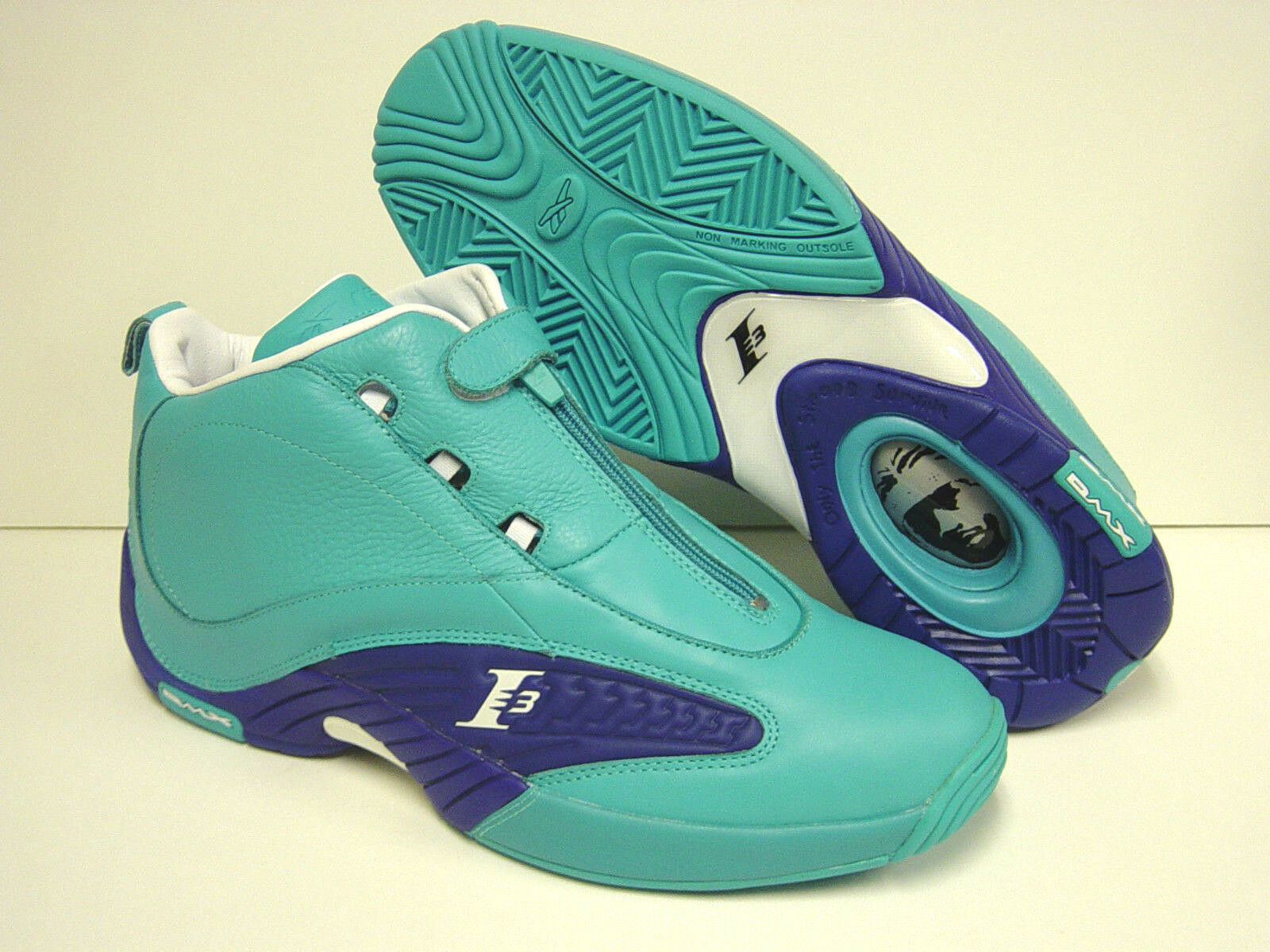 NEW Uomo Sz REEBOK Answer IV Mid Teal Blue SAMPLE AI IVERSON  Shoes Rare