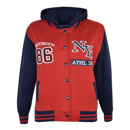 Bambini Ragazzi Baseball NYC Athletic Rosso Giacca Con Cappuccio Varsity Felpa con cappuccio età 5-13 anni