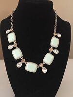 Monet Necklace With Mint Green Stones Gold Tone Crystals Signed Women's