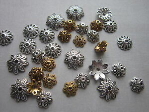 30-x-mix-tibetan-style-Bead-Caps-Cones-Crown-antique-silver-golden-findings