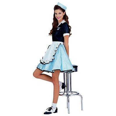Car Hop Girl Costume Adult 50s Diner Waitress Halloween Fancy Dress