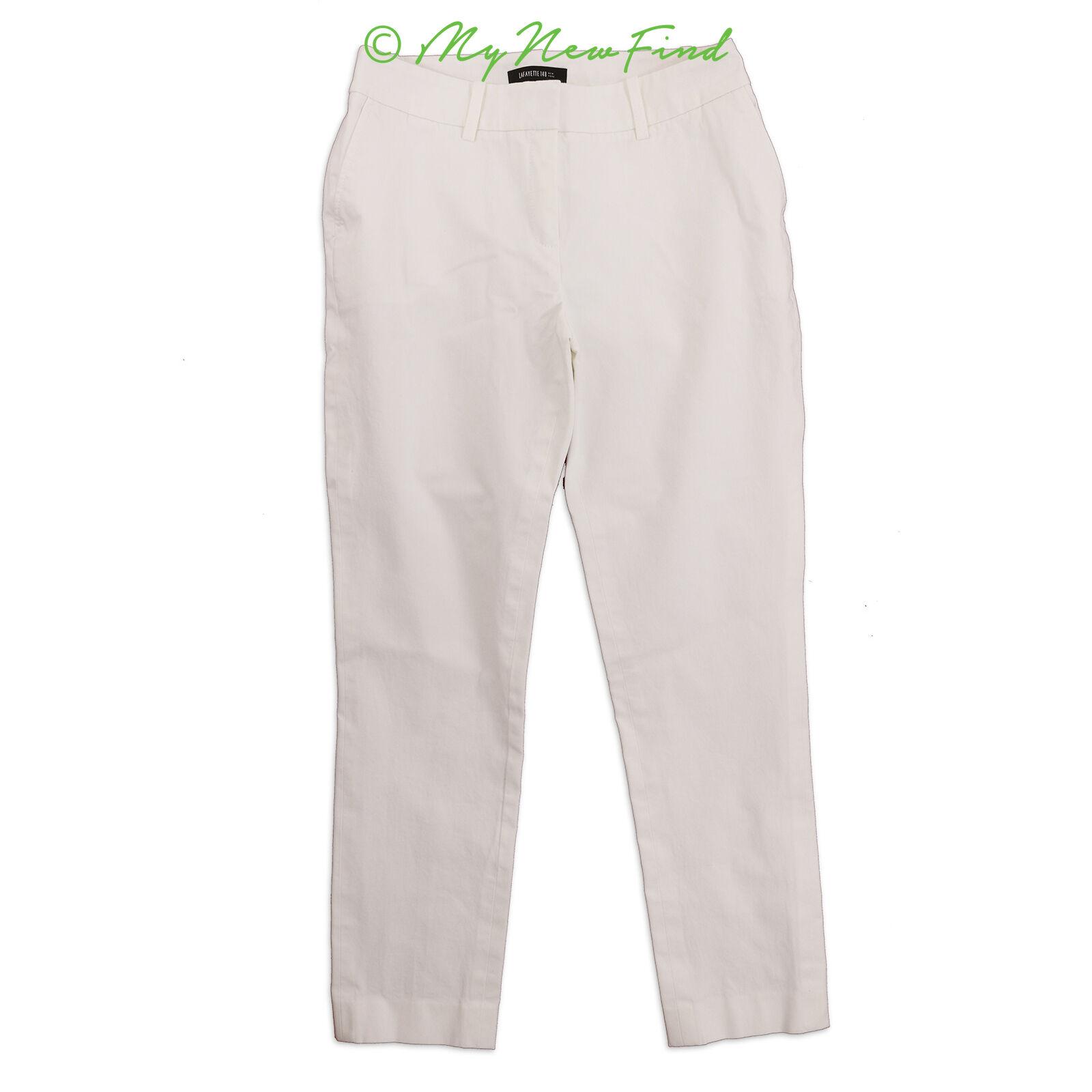 Lafayette 148 Dress Pants Size 4 Skinny Ankle Zip Cotton Stretch White EUC  B81