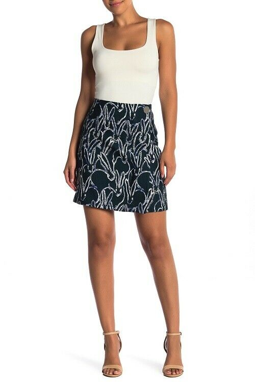 GREY JASON WU Deep Forest Green Bunny Print Jacquard A-Line Straight Skirt 12 US
