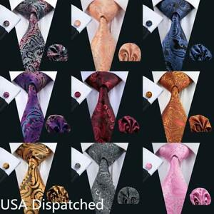 USA-Mens-Paisley-Silk-Tie-Set-68-Colors-Red-Blue-Black-Gold-Pink-Necktie-Wedding