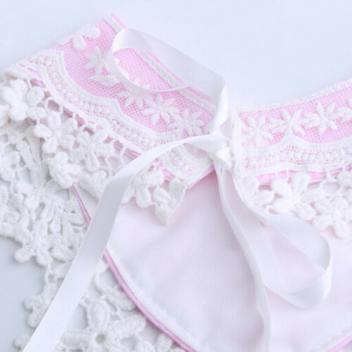 Stunning Baby Girls Lace Overlay Spanish Style Ribbon Tie Decorative Bib 6A