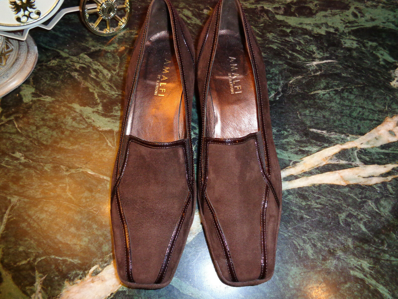 AMALFI brown suede w brown patent leather trim wedge shoe 9N PRISTINE