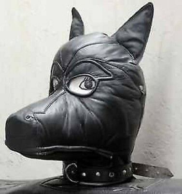 Real Leather Dog mask Cosplay Exclusive Gothic hood gimp cuir mask slave kink