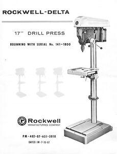 Delta 17 Drill Press 1411800 Wiring Instructions Manual Parts