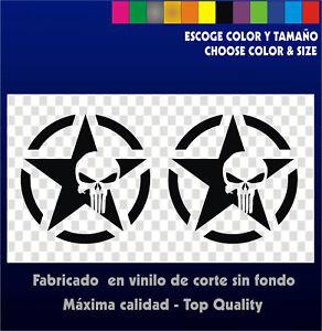 2-X-Stickers-Vinilo-Pegatinas-THE-PUNISHER-STAR-Vinyl-Adhesivi-Aufkleber