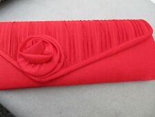 fabulous ladies red evening bag new with tags pleated front with flower