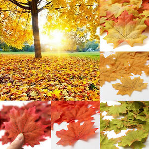 Pack-of-100X-Artificial-Maple-Leaf-Garland-Silk-Autumn-Fall-Leaves-Garden-Decor