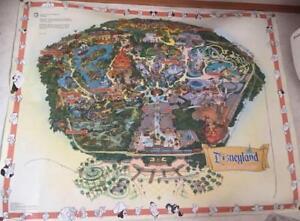 Walt-Disneyland-Large-Wall-Map-Guide-Sign-Poster-Disney-45th-Anniversary-Vintage