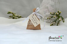 Hessian Mini Favor Bags 25 x Wedding Cream Lace Personalized Tags Satin Ribbon