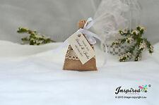 Hessian Mini Favor Bags 25 x Wedding Cream Lace Personalized Tags Satin Ribbon