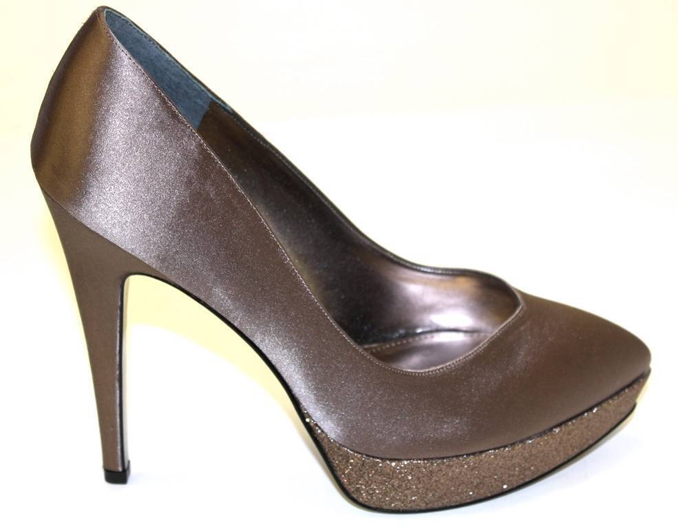 Damen Kleid Schuhe Nina Rinalda Plateau Kleid Damen Pumps Ferse Satin Malinda Taupe Hartzinn b1521b