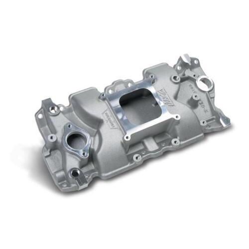 Weiand Intake Manifold 7547-1; X-CELerator Single Plane Satin Aluminum for SBC