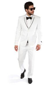 Slim Fit White Mens Tuxedo With Black Trim Collar 2 Button Notch