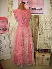 1950s Terciopelo Rebaño Rosa Vestido-Ditsy Vintage 8 10 Dama Boda