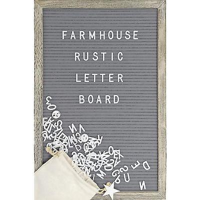 12 x 17 Inch Rustic Wood Frame Farmhouse Wall Decor Felt Letter Board Blac...